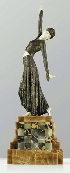 'FOOTSTEPS', A COLD-PAINTED, PARCEL-GILT BRONZE AND CARVED IVORY FIGURE ON ONYX AND MARBLE BASE BY DEMETER CHIPARUS, CIRCA 1925. SIGNED.