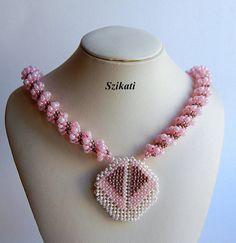 FREE SHIPPING Pink/Grey Statement Seed Bead Pendant by Szikati