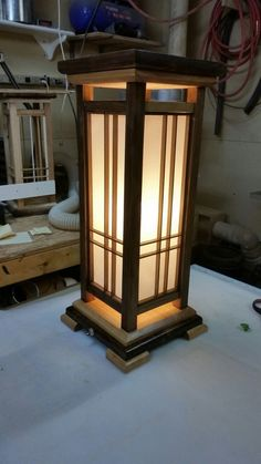 The first of the Christmas present projects done. These are a hybrid of a Frank Lloyd Wright and Japanese shoji lamp design. Walnut and cherry finished with a rubbed lacquer varnish. I really like this finish technique. The Internet is a wonderful thing.