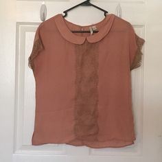 LC Lauren Conrad collared top/brown lace detail Polyester top, lace details, short sleeves LC Lauren Conrad Tops Blouses