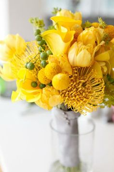 """""""All Yellow"""" Wedding Bouquet: Pin Cushion Protea, Calla Lilies, Tulips, Craspedia (Billy Balls, Billy Buttons) + Green Berries"""