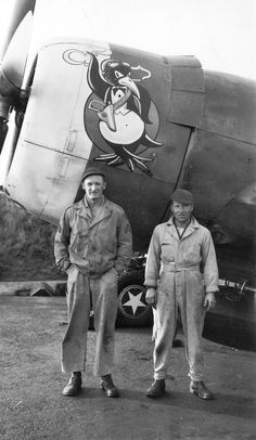 """P-47C-5-RE, VF-S, 41-6573 """"Jug"""", featuring a smoking penguin wearing a holster and gun. Ground crew unidentified."""