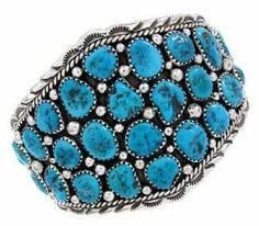 Navajo Sterling Silver Turquoise Cuff Bracelet FS65170 SilverTribe. $269.99
