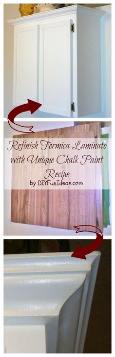 How To REFINISH FORMICA LAMINATE WITH UNIQUE CHALK PAINT RECIPE. Turn your old formica laminate into beautiful custom cabinet with this unique chalk paint recipe. TONS MORE DIYs @ DIYFUNIDEAS.COM