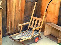 Vintage Rustic Sled, Winter Christmas, Wood Body, Metal Runners, Wheels, Long…