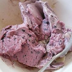 Healthy alternative to ice-cream. This was made using only two ingredients, frozen banana and frozen blueberries.