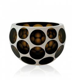 Hand cut bowl Copernicus 3177 smoke overlay white enamel.