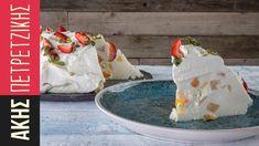 Γιαουρτογλυκό με φρούτα | Kitchen Lab by Akis Petretzikis Happy Foods, Healthy Sweets, Cream Cake, Jello, Camembert Cheese, Deserts, Frozen, Blog, Yummy Food
