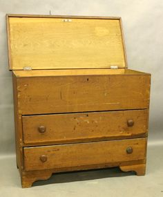 Early19thC. Southern Poplar 2 Drwr. Blanket Chest. Known as a mule chest.  Blanket storage in top area and then the lower 2 drawers w/old wood mushroom knobs!!!