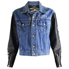 Preowned John Richmond Destroy Men's Denim Jacket With Faux Leather...  ($344) ❤ liked on Polyvore featuring men's fashion, men's clothing, men's  outerwear, ...