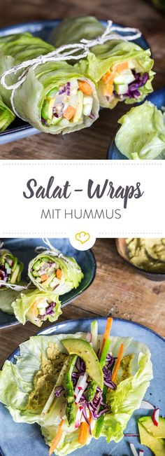 Salad wraps with vegetable filling and hummus - Salat-Wraps mit Gemüsefüllung und Hummus Wraps must not be missing with you? Carbs every now and then? Simply replace the wheat flatbread with a lettuce leaf and fill it with vegetables. Hummus Wrap, Vegetarian Recipes, Cooking Recipes, Healthy Recipes, Cooking Cake, Diabetic Recipes, Salat Wraps, Healthy Snacks, Healthy Eating