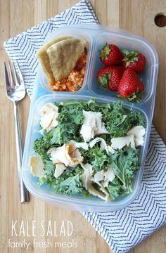 50 healthy work lunch ideas - FamilyFreshMeals.com kale salad - familyfreshmeals.com