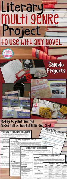 Multi-Genre Project for Any Novel - Middle and High School - Let your or grade classroom students make the most of independent reading time or give students the chance to be creative with your current novel. High School Classroom, English Classroom, High School Students, Classroom Ideas, English Teachers, Future Classroom, 8th Grade English, Middle School English, Teaching Literature