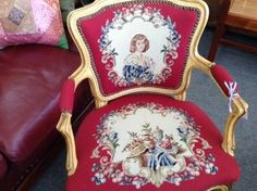 Louis 15th Chair with Needlepoint Upholstery - Gold Leaf highlights on the frame and a striking needlepoint upholstery.   Item. 249-11.  Price $385.00    - http://takeitorleaveit.co/2013/10/11/louis-15th-chair-with-needlepoint-upholstery/