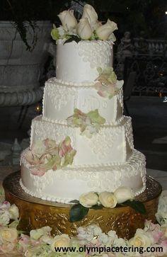 Round and Hexagon Wedding Cake, Piped Swirl Detail, Initials, Fresh Flowers, 4 Tiers