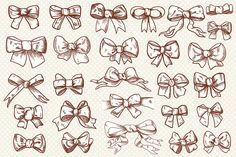 Vintage bow clip art collection by Digital art shop on Creative Market