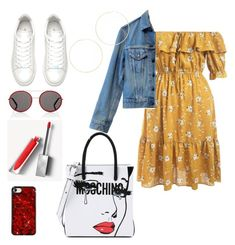 """Untitled #714"" by simran99 on Polyvore featuring Moschino, Levi's, Gucci, Burberry and Kenneth Jay Lane"