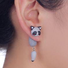 W-AOE New Design Kawaii Cartoon Raccoon Stud Earrings Handmade Polymer Clay 3D Cute Animal Earrings For Women Girl Kids Gift
