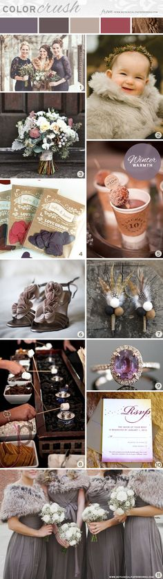 We are totally crushing on this Winter color palette featuring Winter blackberry, pewter, taupe, deep rose and walnut. Check out all the ideas and inspirations!