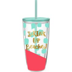 Drink Up Beaches 22 Oz Acrylic Double-Wall Bpa   Gift for Her ($13) ❤ liked on Polyvore featuring home, kitchen & dining, drink & barware, drinkware, home & living, silver and tumblers & water glasses