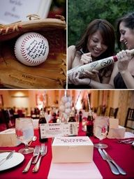 Baseball wedding ideas also, a scoreboard with the date on it