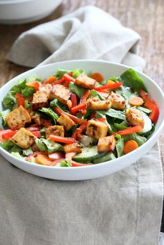 Crunchy Vegan Asian Salad With Baked Tofu and Garlic Soy Maple Dressing