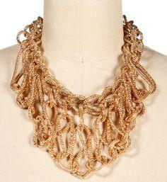Gold Mesh Interlock Necklace