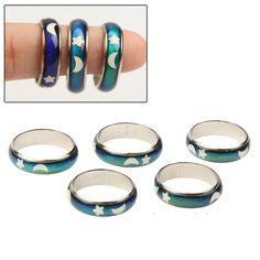 [$2.27] Magical 12-color Changing Mood Emotion Test Finger Ring Trinket Unisex Design, Pack of 5(Size:2 x 20mm, 3 x 19mm)