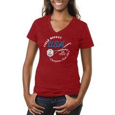 USA Field Hockey Women's Winner's Circle Tri-Blend V-Neck T-Shirt - Red - $24.99