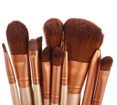 Coffee Wood 12Pcs Blending Makeup Brush Kit