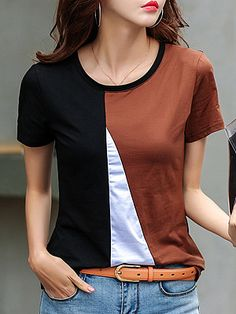 Round Neck Color Block Short Sleeve T-shirt Casual T Shirts, Casual Tops, T Shirt Sewing Pattern, Longsleeve, Graphic Tee Shirts, T Shirts For Women, Clothes For Women, Blouse Designs, Shirt Outfit