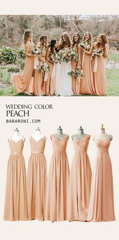 65 Best peach dresses images | Dresses, Bridesmaid dresses