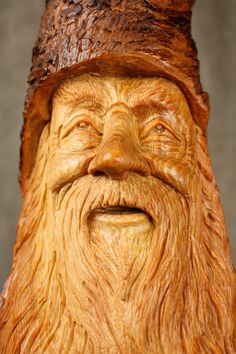 "Carved Wood Spirit ~ Elf Wizard ~ Carved by Gary Burns the Treewiz / "" ""Zeeboe"" the Wizard. He's a very wise soul. He is always cheery, even under huge pressure. He has faith that if he just keeps doing the next thing, there will be time for everything. He is a very hard worker but it just isn't work to him. Peace & Joy are always with him, wherever he goes. He has a wonderful energy & is loved by all."""