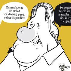 #Cartoons by Raúl Salazar. #illustration #ilustración #viñeta #cartoon #news #funny #drawing #humor #comic #caricature #Depardieu #France
