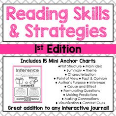 These 15 mini anchor charts are a great addition to your interactive reader's notebook. Each anchor chart gives an explanation of a reading strategy or skill. Students can glue them in their journal for quick and easy reference while they are independently reading.