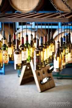 30 Wine Bottle Light Chandelier hanging from wood riddling rack $1,195.00