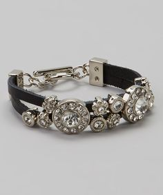 Another great find on #zulily! Silver & Black Leather Circle Stone Bracelet by I Love Accessories #zulilyfinds