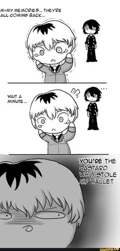 juzzo, haisesasaki, kaneki _ I think it was really cute when  juzzo gave haise money on their first meeting in Tokyo ghoul re: that money was the one he took from kaneki in Tokyo ghoul on that night and after all that time he never forgot to give it back