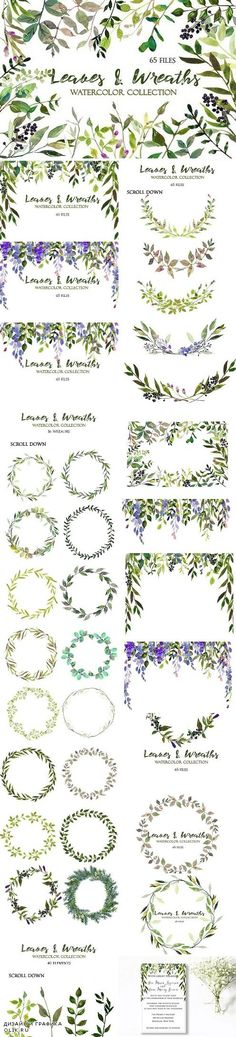 Leaves and Wreaths Watercolor Set 1090096