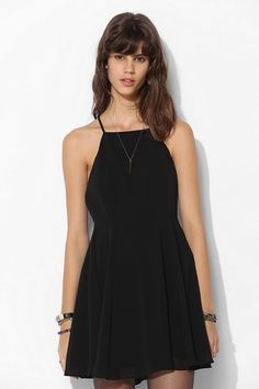 Silence + Noise Chiffon High-Neck Apron Dress - Urban Outfitters