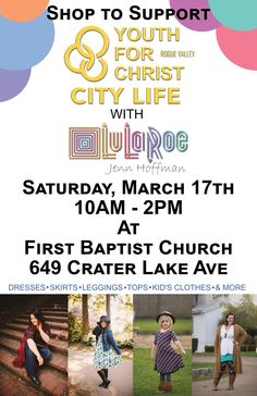 The awesome ladies of LuLaRoe  are holding a fundraiser on March 17th and they are doing this to support City Life. How cool is that! Come and pick a new outfit for Easter and support City Life at the same time.