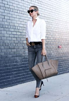 White Button Down | Statement Belt | Women's belt | Denim | Belted jeans | Black belt | Casual outfit | Inspiration | Fashion tips | Style | Chic | Modern