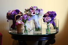 bridesmaids flowers in their vases before the ceremony