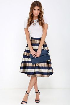 Dock of the Bay Navy Blue and Bronze Striped Midi Skirt - Party Dresses and Party Outfits Midi Skirt Outfit, Skirt Outfits, Dress Skirt, Navy Skirt, Midi Skirts, Mode Outfits, Office Outfits, Look Office, Latest Fashion For Women