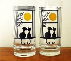 drinking glasses with cats on | Black Cat Couple pair of Drinking Glasses by by Lamiazenatadesigns
