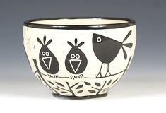 Birds on a Wire Bowl: Jennifer Falter: Ceramic Bowl - Artful Home
