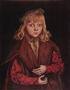 """Portrait of a Saxon Prince possibly of George of Saxony's son Johann""""Younger""""--Lucas Cranach the Elder (1472–1553) A Prince of Saxony Date circa 1517 Medium oil on panel 43.7 × 34.4 cm-National Gallery of Art Washington West Main Floor Gallery 35  Object history (Julius Böhler, Munich, owned jointly with August Salomon, Dresden, through Paul Cassirer, Berlin).purchased August 1925 by Ralph Harman [1873-1931] and Mary Batterman [d. 1951] Booth, Grosse Pointe, Michigan; gift 1947 to NGA…"""
