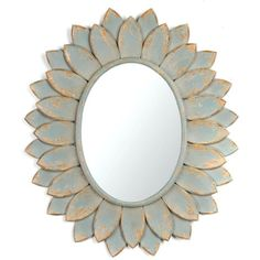 Blue Bloom Mirror ($50) ❤ liked on Polyvore featuring home, home decor, mirrors, decor, oval mirror, metal home decor, blue home decor, flower home decor and blue mirror