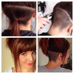 undercut bob with bangs - Google Search - this is exactly what I want, except the rest of the hair long. Undercut, bangs...yes