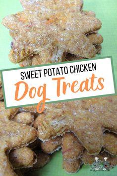sweet potato chicken Diy Dog Treats, Homemade Dog Treats, Dog Treat Recipes, Healthy Dog Treats, Vegetable Recipes, Chicken Recipes, Peanut Butter Dog Biscuits, Chicken For Dogs, Biscuit Recipe